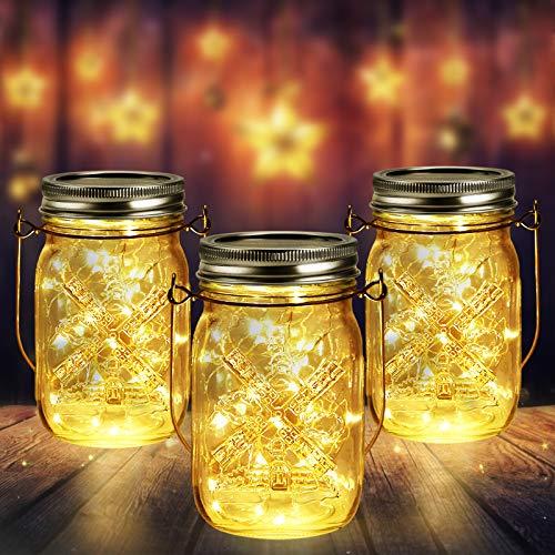 3 Stück Solarlampen für Außen | 40er LED Solar Licht mit Windmühlenmuster für Garten | Solarglas Lichterkette Leuchten Garten Laternen Solarleuchten Wasserdichte Hängeleuchten Gartendeko für Party