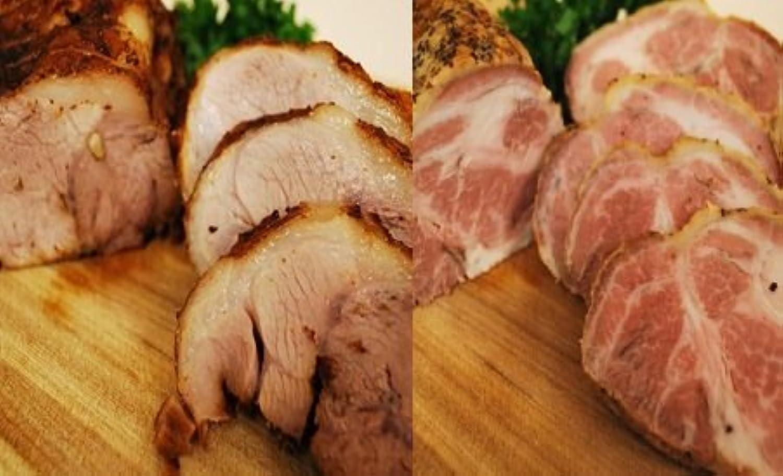 焼豚とチャーシュー2種類400g×2パック合計800gのお得なセット(自家製タレ付き)【国産 手作り】