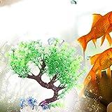 Pbzydu Künstlicher gebogener Baum, klares Plastikbetriebsunterwasseraquarium, das Dekoration für Aquarium landschaftlich gestaltet(Vanille)