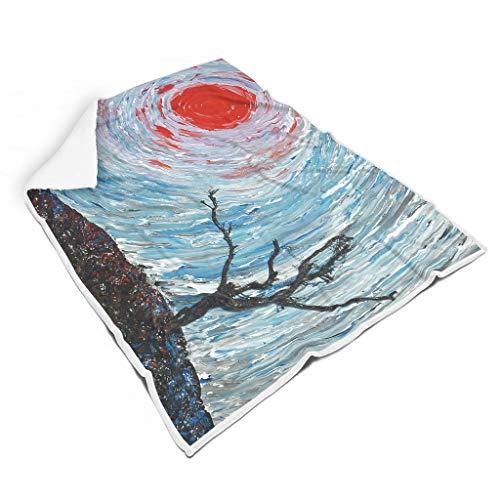 kikomia Japanisch Baum Rot Sonnenuntergang Landschaft Druck Sherpa Decke Werfen Mystisch Picknick Werfen Innendekoration Erwachsene&Kleinkind White 150x200cm