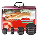 20 Pcs hot Stones for Massage with Warmer, Basalt Hot Massage Stones with Heater Box, Electric Hot Stone Massage Set for Professional or Home spa, Relaxing, Healing, Pain Relief