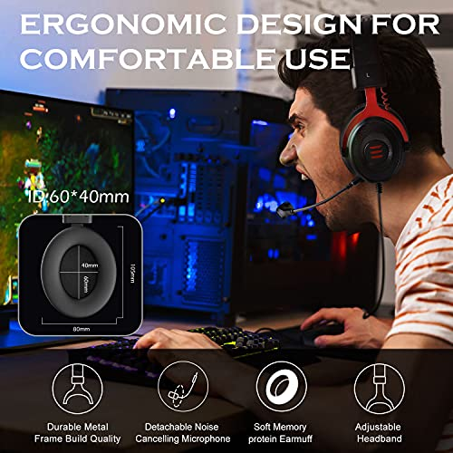 EKSA E900 Wired Stereo Gaming Headset-Over Ear Headphones with Noise Canceling Mic, Detachable Headset
