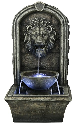 The Cair Paravel - 32' Floor/Wall Fountain w/LED Lights: Indoor/Outdoor Water Feature Perfect for Patios, Welcome Areas, Porches, Decks, Gardens. HF-F04-32L