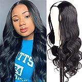 Amella Hair U Part Wig Human Hair Wigs for Black Women Body Wave Wig Natural Black Color Half Wig Glueless Full Head U part Hair Extension Clip in Human Hair(22 inch,Body Wave)
