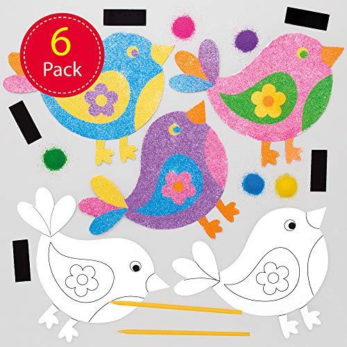 Baker Ross vogel zandkunst magneten knutselset voor kinderen (6 stuks) creatieve sets om te knutselen en te decoreren in de lente