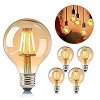 💡 【Vintage G80 LED Glühbirne 】Diese klassisches ASANMU LED Vintage Glühbirne mit wunderschönen Filamenten und besonderen Kugelform, rundum 360-Grad-Licht, exquisites und einzigartiges Kugelform Design mit warm Licht, liefert ein gemütliches und behag...