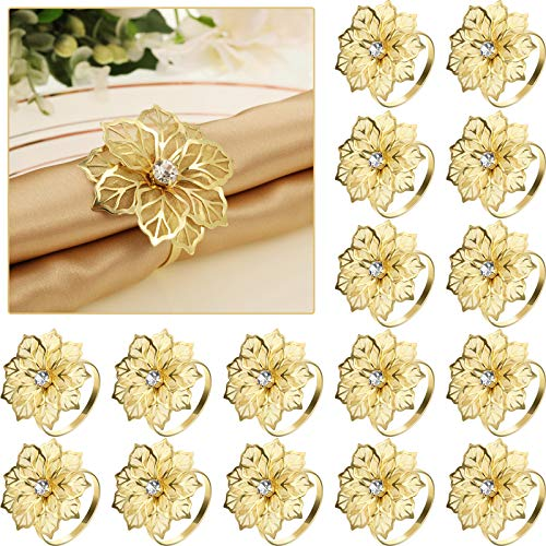 24 Pack Napkin Rings Alloy Napkin Rings Hollow Out Flower Ring Napkin Holder Adornment Exquisite Household Floral Rhinestone Napkins Rings Set for Wedding,Mother's Day,Party Dinner Table Decor (Gold)