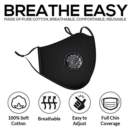 3 Layer Cloth Face Mask with Filter, 2 Carbon Filters, Covid Mask, Reusable Washable, Easy to Breathe, Nose Wire & Adjustable Straps for Adults (1 Pk) Choose Styles