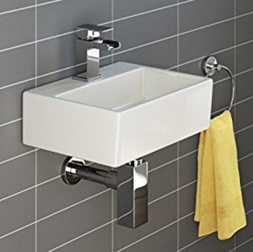 Lavandino in ceramica quadrato, da parete, con 1foro per rubinetto