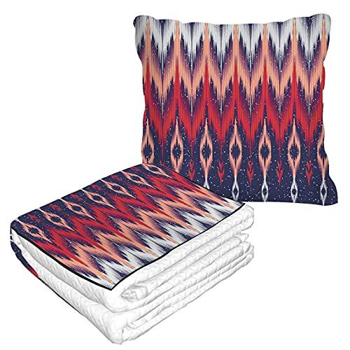Manta de viaje geométrica étnica floral en bolsa suave, funda de almohada tradicional colorida de Batik Mandala triángulo manta cálida cojín para casa coche oficina