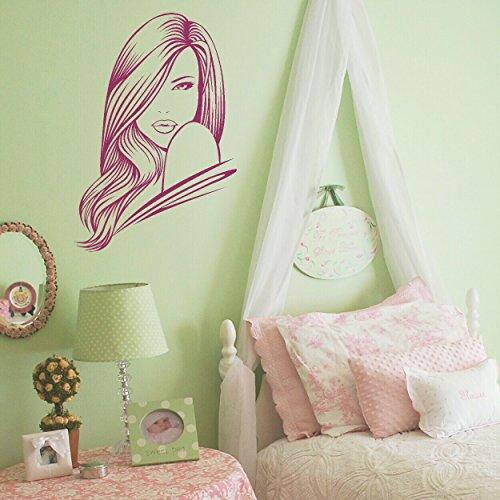 LaoGraphics - Adhesivos decorativos para pared, diseño de cabeza de mujer y salón de belleza, ideal como regalo para niños y adolescentes, vinilo, Morado, ExtraSmall - 44x30cm