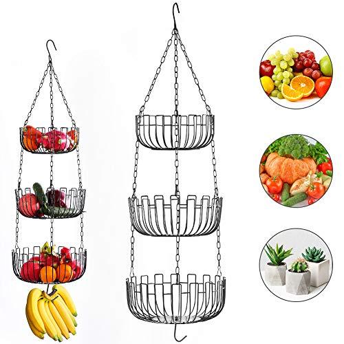 Obstkorb Hängend Obst Etagere Hängekorb - 3 Stöckiger Metall Obstkörbe Gemüsekorb küchenampel hängend Metall Deko Korb Aufbewahrung mit Deckenhaken für Küche (Schwarz)