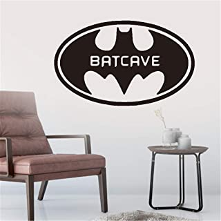 Hisau Wall Quotes Decal Wall Stickers Art Decor Cartoon Batman Batcave Personalized Name and Number for Living Room Boys Bedroom