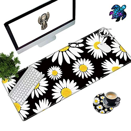 Desk Pad Mat Large Mouse Pad XL Extended Mousepad Gaming with Cute Daisy 31.5' 11.8' Huge Mouse Pads for Computer Laptop Home Office + Cup Coaster and Cute Stickers