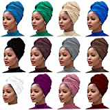 12 Pieces Head Wrap Scarf Stretch Jersey Turban Extra Long Ultra Soft Urban Headwraps for Women Solid Color African Headwear Headband Tie (Set 01)