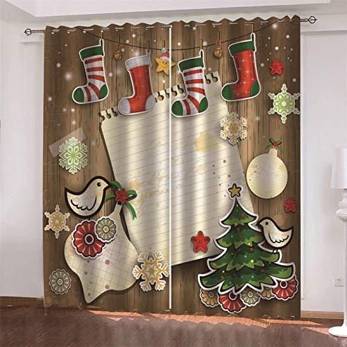 MMHJS Cortinas De Tela Estampadas 3D Christmas Old Man, Reutilizables, Impermeables, Decoración De Paredes, Cortinas De Dormitorio Y Sala De Estar (2 Piezas)