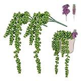 *Angelikashalala Plantes suculentes artificials, 4 peces de perles d'imitació, per a decoració de la llar, jardí, subministraments de bricolatge