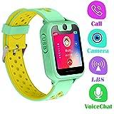 Montre Telephone Enfant - Smartwatch LBS Tracker avec Caméra Jeux Lampe de Poche pour Garcon Fille Compatible avec Les Smartphone Android iOS (LBS, Green)