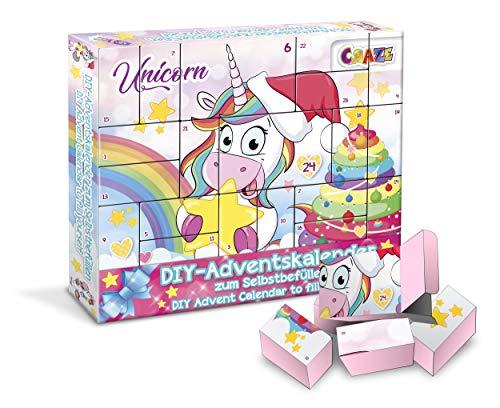 CRAZE 25321 Adventskalender UNICORN Weihnachtskalender Einhorn für Mädchen Spielzeugkalender, kreative Inhalte