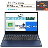 "Lenovo Ideapad 3 14 14"" FHD Laptop Computer/ AMD Ryzen 5 3500U Quad-Core Up to 3.7GHz (Beats I7-7500U)/ 12GB DDR4 RAM/ 1TB PCIe SSD/ Online Class Ready/ Blue/ Webcam/ Windows 10/ iPuzzle Mousepad"