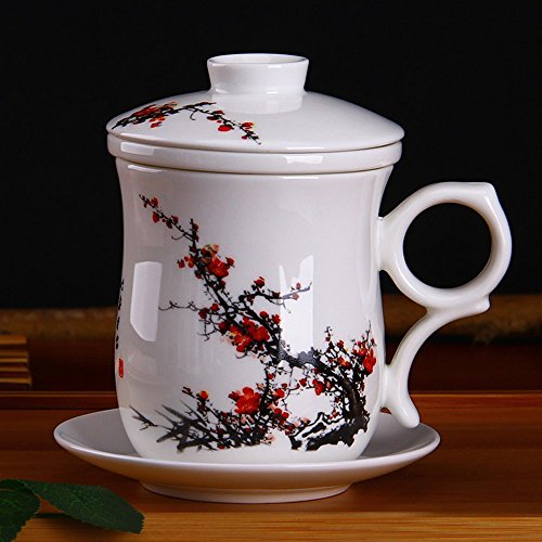 XDOBO Chinese Style Tea Infuser Cup Porcelain Handmade Kung Fu Tea Cup,Ceramic Tea Cup With Loose Leaf Tea Brewing System - Beautifully Designed Tall Tea Infuser Cup With Saucer & Lid