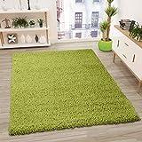 VIMODA Prime Shaggy Teppich Grün Hochflor Langflor Modern, Maße:70x140 cm