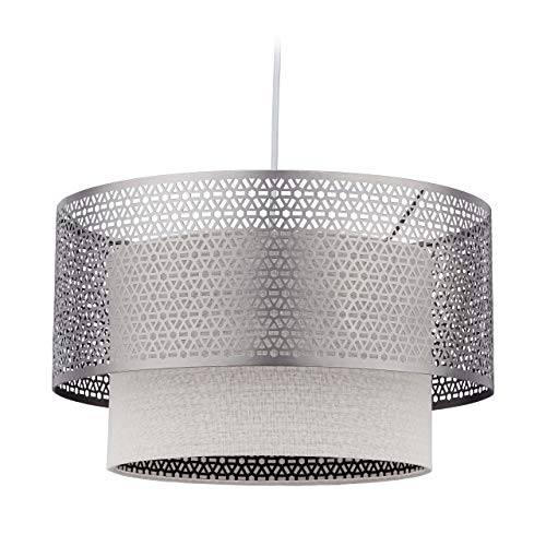 Relaxdays Hanglamp, 1 lamp, eettafellamp, ronde lampenkap, E27 hanglamp, ijzer & linnen, 40,5 cm Ø, zilver