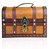 Brynnberg Caja de Madera William 22x14x14cm - Cofre del Tesoro Pirata de Estilo Vintage - Hecha a Mano - Diseño Retro - joyero - con candado