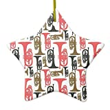 Fr75en Estrella de melófono cerámica Adornos de Navidad Novedad Divertido para decoración del hogar