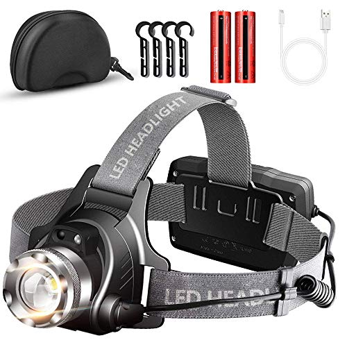 Headlamp Flashlight Head Lamp USB Rechargeable,Adjustable Head Light,Waterproof Led Headlight,Zoomable Brightest Head Lamps with Batteries,Motion Sensor Headlamps for Camping Running Hunting Outdoors