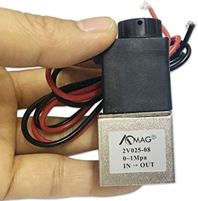 """AOMAG 1/8"""" NPT DC 12V Electric Solenoid Valve 2 Way Water Air Valve Normally Closed by AOMAG"""