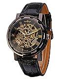 Yoodeet Men's Black Skeleton Dial Hand-Wind Up Leather Mechanical Wrist Watch