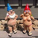 Garten-Goblin-Kunst-Dekoration - Pissender Gnom Frecher Gartenzwerg, Lustiger Nackter Trinkgnom im Freien Statuen, Mann Frauen Gartenzwerge Statue Dekorationen (Der Mann + Frauen)