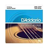 D'Addario 12 Phosphor Bronze Acoustic Guitar Strings, Light, 10-47 (EJ38)