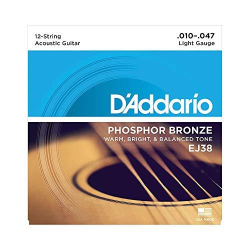 D\'Addario Stahlsaiten 12-saitige Westerngitarre | HÖCHSTE QUALITÄT DER BELIEBTESTEN SAITENMARKE | EJ38 | Phosphor Bronze | Light (10-47)