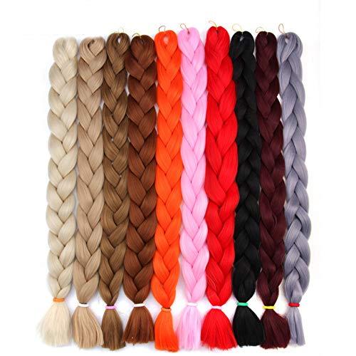 EASYCROWN 5PCS 165G Jumbo Braiding Hair Ombre Colored Rainbow Color Braiding Hair Kanekalon Synthetic 41 Inch Braids Hair Extensions for Box Braid Twist Braiding Hair (#30)