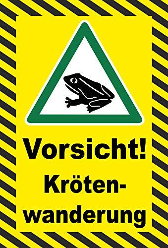 Schild 15x10cm Vorsicht Krötenwanderung – 3mm Hartschaum | Bohrlöcher - 20 Varianten