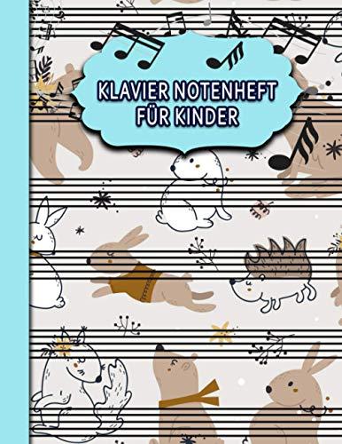 Klavier Notenheft für Kinder: Blanko Notenblock/ 6 Notensysteme pro Seite/ 50 Seiten/ Perfekt zum Schreiben von Noten oder für Kinder im Musikunterricht🎁