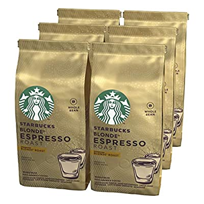 STARBUCKS Espresso Roast Blonde Roast Whole Bean Coffee, 200 g (Pack of 6)