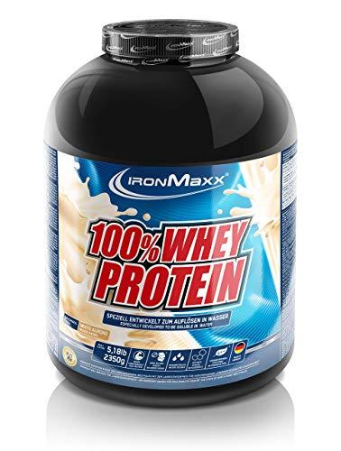 IronMaxx 100% Whey Protein, Proteinpulver für Eiweißshake, Eiweißpulver auf Wasserbasis mit White Almond Geschmack, 2,35 kg