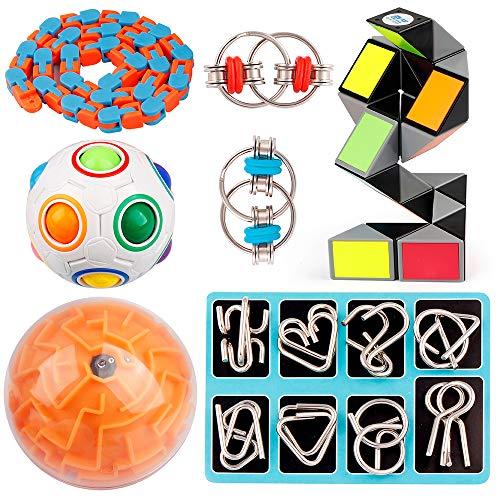 D-FantiX 14 Pcs Brain Teaser Puzzles Toy Set, Magic Rainbow Puzzle Ball, 3D Maze Ball, Magic Snake Cube, Metal Wire Puzzle, Flippy Chain, 48 Link Wacky Tracks Sensory Fidget Toys Kids Stocking Stuffer