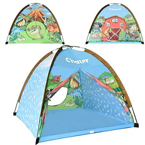 "Chalpr Dinosaur Kids Tent, 47""x47""x35"" Pop Up Tent for Kids, Dome Play Tent for Kids Indoor and Outdoor , Animals Imaginative Children Playhouse for Girls and Boys"