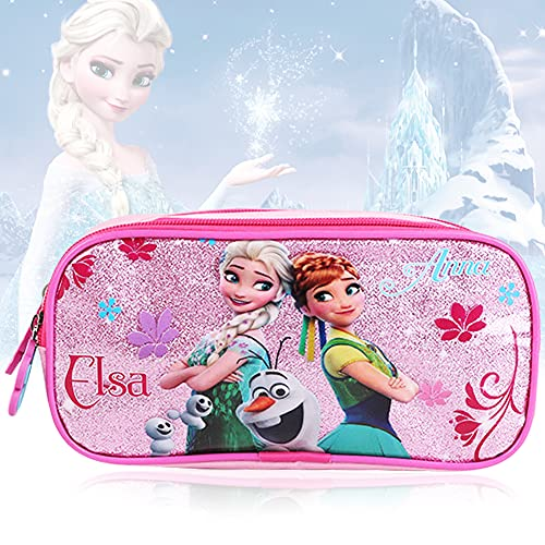 1 PCS paquete niña brillante princesa estuche de lápices mochila escolar de gran capacidad maleta doble cremallera caja de almacenamiento de papelería estuche de lápices multifunción