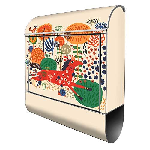 Banjado Design Briefkasten mit Motiv Rotes Pferd | Stahl pulverbeschichtet mit Zeitungsrolle | Größe 39x47x14cm, 2 Schlüssel, A4 Einwurf, inkl. Montagematerial