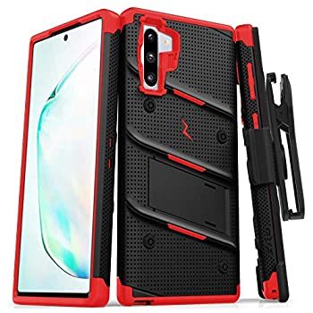 Zizo Bolt Cover - Case for Samsung Galaxy Note 10 & Kickstand and Holster  Black/Red