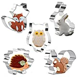 Orapink Animals Cookie Cutters Shapes - Rabbit,Owl,Fox,Hedgehog and Squirrel - 5 Pieces Stainless Steel for Kids Biscuit Pastry Cutter Set