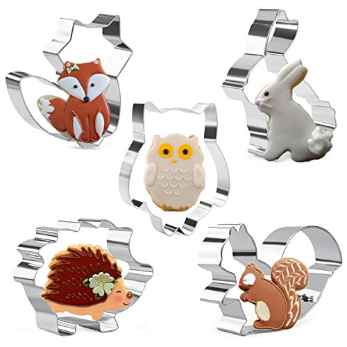 Orapink Tiere Ausstechformen Formen - Kaninchen, Eule, Fuchs, Igel und Eichhörnchen - 5 Stück Edelstahl für Kinder Keks Ausstecher Set