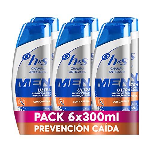 H&S Men Ultra Prevención Caída Champú Anticaspa 6x 300ml, Fórmula Anticaída Con Cafeína Para Un Pelo Más Fuerte