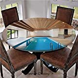 """Elastic Edged Polyester Fitted Table Cover,Apartment with Indoor Pool Wooden Ceiling Private Resident Stylish Home Perspective,Fits up 40""""-44"""" Diameter Tables,The Ultimate Protection for Your Table,"""