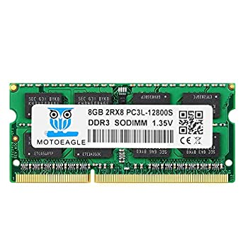 8GB DDR3L-1600 Mhz SODIMM DDR3 PC3-12800 RAM 1600Mhz Motoeagle 2RX8 1.35V Dual Rank Module Chips Upgrade for Laptop 8GBx1 RAM Memory